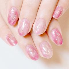 圆形晕染粉色水滴想学习这么好看的美甲吗?可以咨询微信mjbyxs6哦~美甲图片