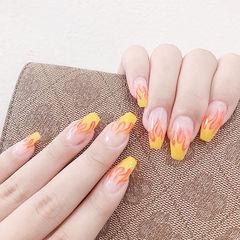 梯形黄色橙色手绘欧美风美甲图片