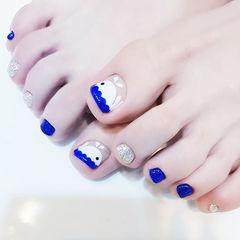 脚部蓝色银色白色手绘夏天可爱美甲图片