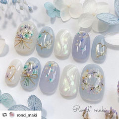 圆形蓝色白色水波纹干花金属饰品贝壳片夏天日式美甲图片