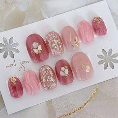 圆形粉色红色贝壳片水波纹日式新娘美甲图片