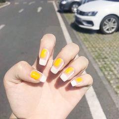 方圆形黄色白色韩式美甲图片