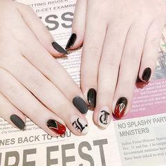 圆形黑色红色手绘磨砂韩式美甲图片