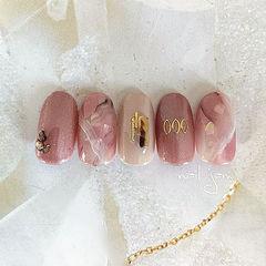 圆形粉色晕染贝壳片日式美甲图片