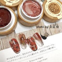 酒红色红色花朵圆形法式手绘记忆型日式胶,卧倒也不流动,给你丝缎般的涂刷体验感,818活动火热发售中! 美甲图片