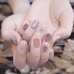圆形粉色紫色晕染想学习这么好看的美甲吗?可以咨询微信mjbyxs6哦~美甲图片