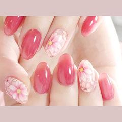 圆形粉色白色手绘花朵新娘想学习这么好看的美甲吗?可以咨询微信mjbyxs6哦~美甲图片