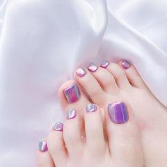 脚部紫色镜面韩式美甲图片