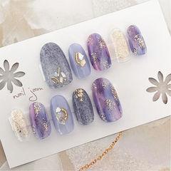 圆形蓝色紫色晕染贝壳片金箔日式美甲图片