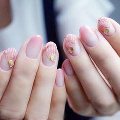 圆形粉色渐变贝壳金属饰品想学习这么好看的美甲吗?可以咨询微信mjbyxs6哦~美甲图片