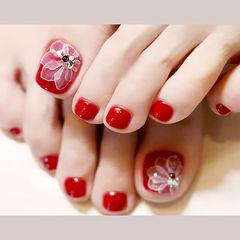 脚部红色白色手绘花朵新娘显白想学习这么好看的美甲吗?可以咨询微信mjbyxs6哦~美甲图片