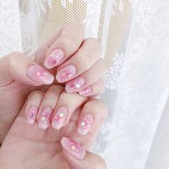 方圆形粉色腮红甲亮片想学习这么好看的美甲吗?可以咨询微信mjbyxs6哦~美甲图片