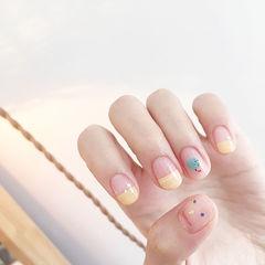 圆形黄色裸色绿色手绘可爱平法式短指甲美甲图片