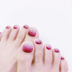 脚部玫红色银色渐变闪粉美甲图片