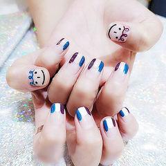 方圆形蓝色紫色白色法式手绘笑脸韩式美甲图片