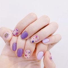 圆形紫色干花美甲图片