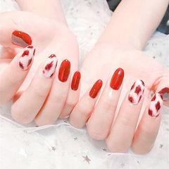 圆形红色白色手绘豹纹想学习这么好看的美甲吗?可以咨询微信mjbyxs6哦~美甲图片