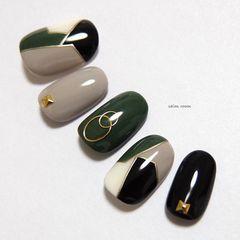 圆形绿色裸色黑色手绘几何金属饰品美甲图片