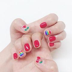 圆形红色手绘水果樱桃彩虹短指甲美甲图片