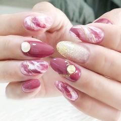 圆形粉色手绘晕染日式金属饰品美甲图片