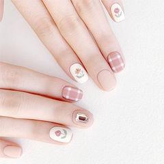 圆形粉色裸色手绘花朵格纹钻磨砂美甲图片