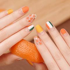 圆形橙色黄色圆法式水果磨砂想学习这么好看的美甲吗?可以咨询微信mjbyxs6哦~美甲图片