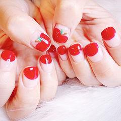 方圆形红色圆法式手绘水果美甲图片