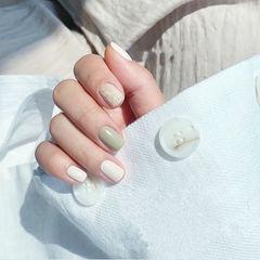 方圆形绿色白色手绘毛呢美甲帮创办的CPMA技术体系日式美甲学校,全国连锁,想学美甲咨询微信:mjbyxs15美甲图片