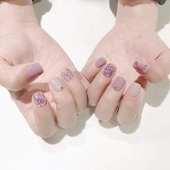方圆形紫色裸色贝壳片短指甲美甲帮创办的CPMA技术体系日式美甲学校,全国连锁,想学美甲咨询微信:mjbyxs15美甲图片