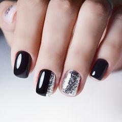 方圆形黑色银色简约美甲图片
