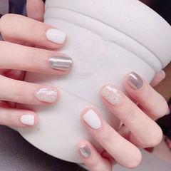 圆形白色银色贝壳片镜面美甲帮创办的CPMA技术体系日式美甲学校,全国连锁,想学美甲咨询微信:mjbyxs15美甲图片