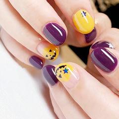 圆形紫色黄色手绘万圣节圆法式短指甲可爱美甲帮创办的CPMA技术体系日式美甲学校,全国连锁,想学美甲咨询微信:mjbyxs15美甲图片