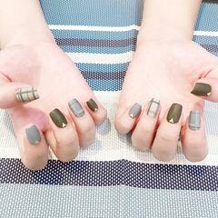 方圆形灰色绿色格纹磨砂美甲图片