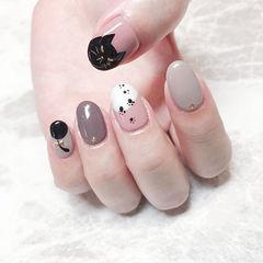 圆形黑色灰色白色手绘圆法式猫咪可爱美甲帮创办的CPMA技术体系日式美甲学校,全国连锁,想学美甲咨询微信:mjbyxs15美甲图片