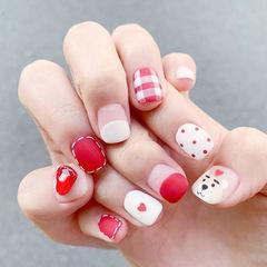 方圆形红色白色圆法式格纹磨砂美甲图片