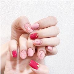 方圆形红色粉色手绘毛呢美甲帮创办的CPMA技术体系日式美甲学校,全国连锁,想学美甲咨询微信:mjbyxs15美甲图片