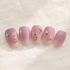 圆形粉色渐变金属饰品星月美甲图片