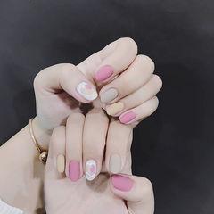 圆形粉色黄色灰色心形跳色磨砂美甲图片