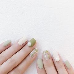 方圆形绿色白色格纹磨砂珍珠美甲图片