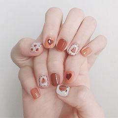 方圆形红色白色橙色手绘树叶心形短指甲美甲帮创办的CPMA技术体系日式美甲学校,全国连锁,想学美甲咨询微信:mjbyxs15美甲图片