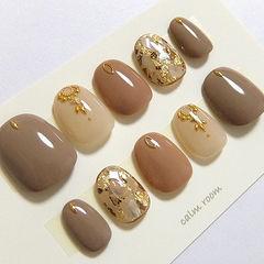 圆形棕色裸色金箔金属饰品美甲图片