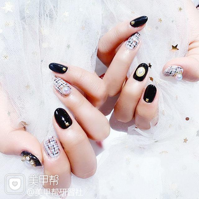 圆形黑色白色手绘毛呢珍珠全国连锁日式学校学美甲加微信:mjbyxs15美甲图片