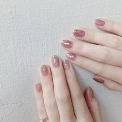 圆形裸色粉色晕染上班族全国连锁日式学校学美甲加微信:mjbyxs15美甲图片