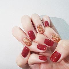 方圆形红色金色跳色新娘美甲图片