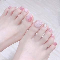 脚部粉色银色格纹毛衣纹全国连锁日式学校学美甲加微信:mjbyxs15美甲图片