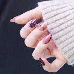 圆形紫色粉色裸色跳色美甲图片