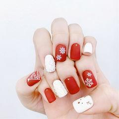 方圆形红色白色毛衣纹雪花圣诞磨砂全国连锁日式学校学美甲加微信:mjbyxs15美甲图片