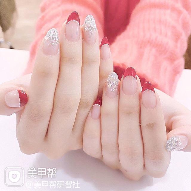 尖形红色银色渐变法式新娘全国连锁日式学校学美甲加微信:mjbyxs15美甲图片