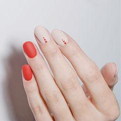 方圆形红色白色波点磨砂短指甲美甲图片