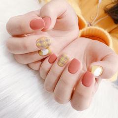 方圆形橙色黄色手绘格纹心形磨砂全国连锁日式学校学美甲加微信:mjbyxs15美甲图片
